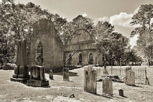 Photograph - The Cemetery At Pon Pon Chapel Of Ease Jacksonboro South Carolina Black And White by Lisa Wooten