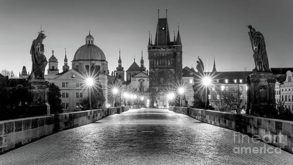 Wall Art - Photograph - The Charles Bridge In Prague - Bw by Henk Meijer Photography