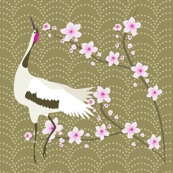 Wall Art - Digital Art - The Cherry Blossom And The Crane by Claire Huntley
