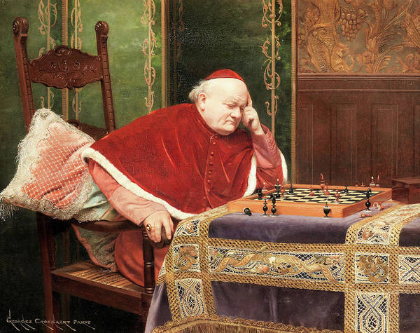 King George Wall Art - Painting - The Chess Game by Georges Croegaert