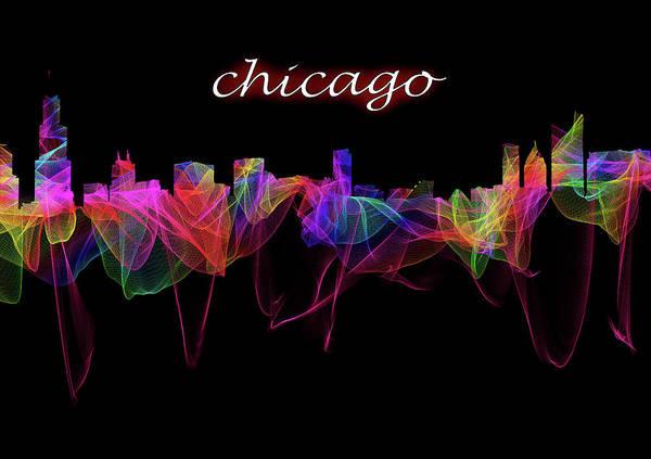 Digital Art - The Chicago Skyline With Script  by Debra and Dave Vanderlaan