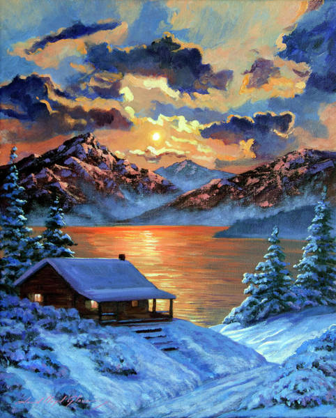 Painting - The Christmas Morning Cabin by David Lloyd Glover
