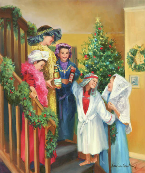 Wall Art - Painting - The Christmas Play by Laurie Snow Hein