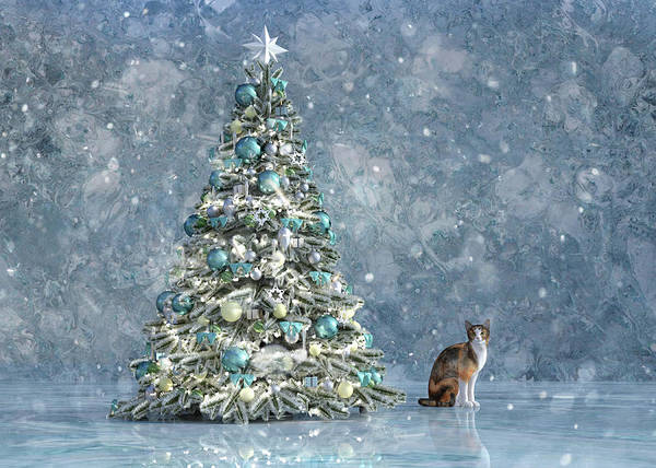 Wall Art - Digital Art - The Christmas Tree Cat by Betsy Knapp