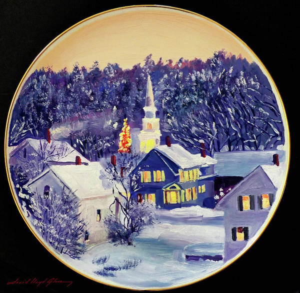 Chapels Painting - The Christmas Village by David Lloyd Glover