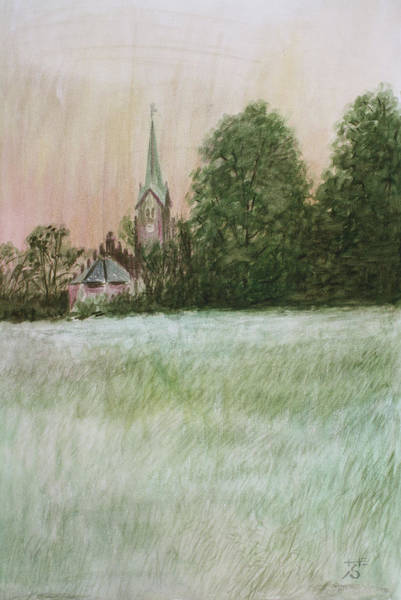 Church Yard Painting - The Church In The Fields by Hans Egil Saele