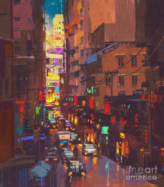 Wall Art - Digital Art - The City Lights,evening Traffic,digital by Tithi Luadthong