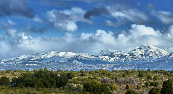 Photograph - The City Of Bariloche And Landscape Of Snowy Mountains In The Argentine Patagonia by Fine Art Photography Prints By Eduardo Accorinti