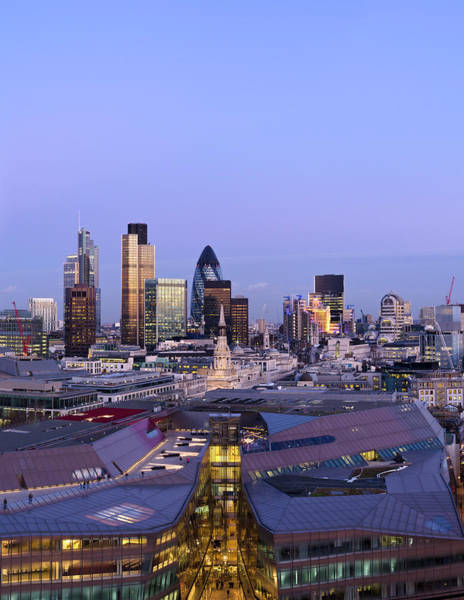 Shopping Districts Wall Art - Photograph - The City Of London, Dusk by Dynasoar