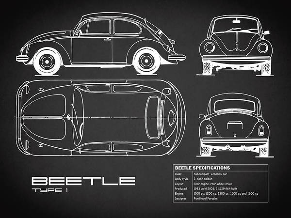Wall Art - Photograph - The Classic Beetle Blueprint Black by Mark Rogan