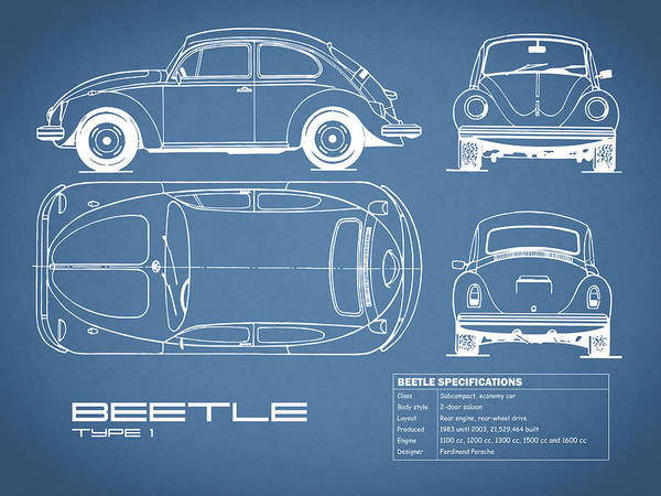 Wall Art - Photograph - The Classic Beetle Blueprint by Mark Rogan