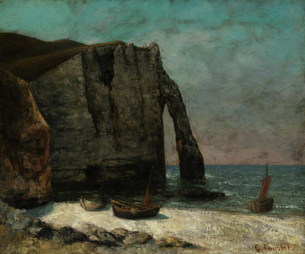 Wall Art - Painting - The Cliff At Etretat, 1872 by Gustave Courbet