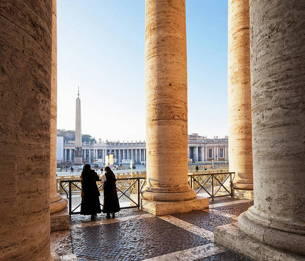 Real People Photograph - The Colonnade At St. Peter Square, Italy by Slow Images
