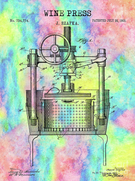 Wall Art - Photograph - The Colorful Wine Press Patent by Jon Neidert