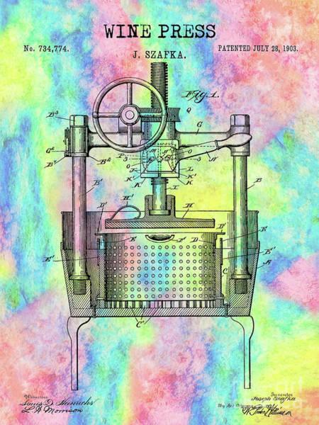 Wall Art - Photograph - The Colorful Wine Press Patent by Jon Neidert