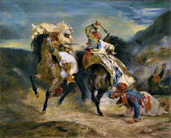 Wall Art - Painting - The Combat Of The Giaour And Hassan - Digital Remastered Edition by Eugene Delacroix