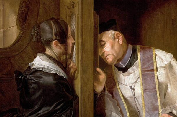 Sacrament Wall Art - Painting - The Confession, 1838, Detail by Giuseppe Molteni