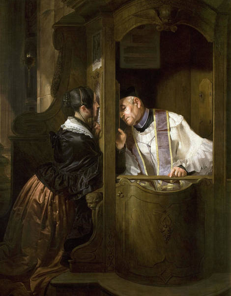 Wall Art - Painting - The Confession, 1838 by Giuseppe Molteni