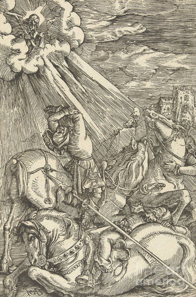 Wall Art - Drawing - The Conversion Of Paul by Hans Baldung Grien
