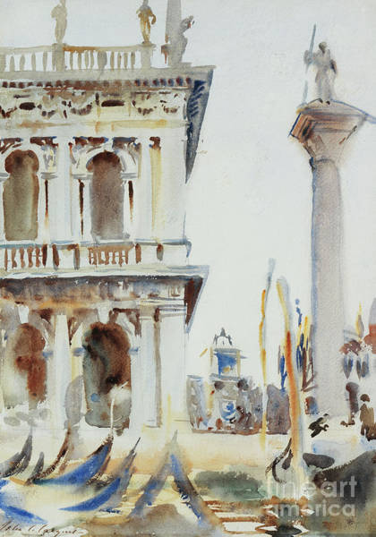 Wall Art - Painting - The Corner Of The Libreria, With The Column Of St Theodore, Venice, 1904 by John Singer Sargent