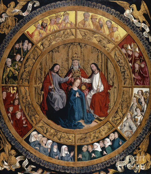 Wall Art - Mixed Media - The Coronation Of The Virgin Surrounded By Angels And Saints by German School