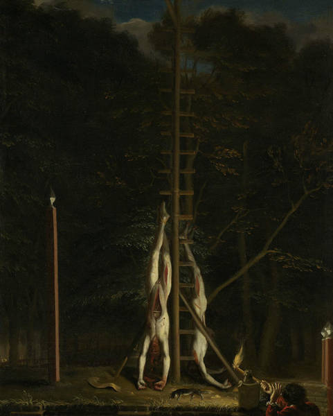 Painting - The Corpses Of The Brothers De Witt, On The Groene Zoodje At The Lange Vijverberg by Jan de Baen