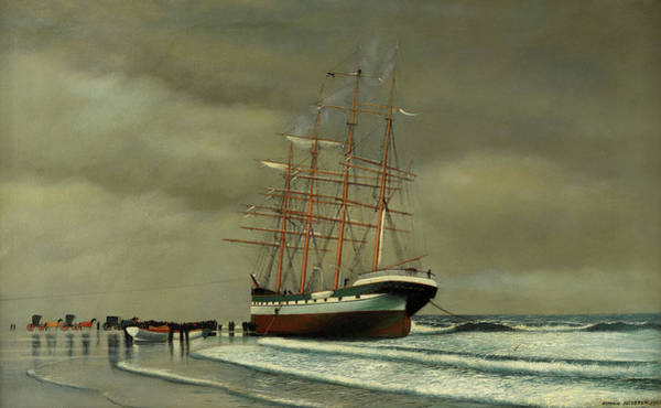 Wall Art - Painting - The County Of Edinburgh Aground At Point Pleasant Beach, New Jersey by Antonio Jacobsen