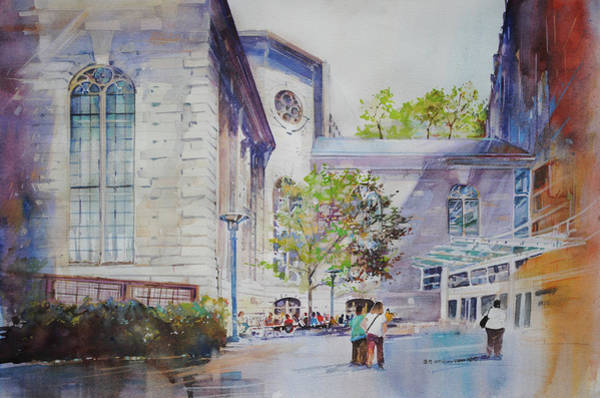 Painting - The Courtyard At Mass General Hospital by P Anthony Visco