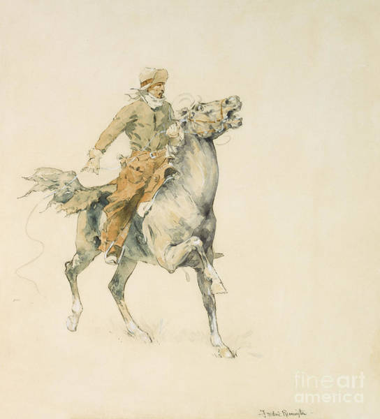 Wall Art - Painting - The Cowboy, Circa 1897 by Frederic Remington
