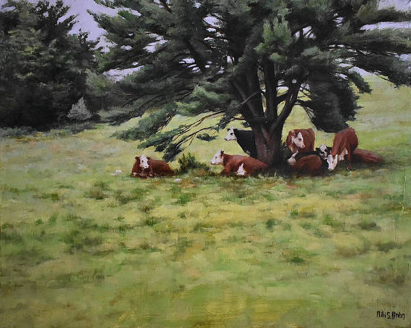 Painting - The Cows And The Pine by Bibi Snelderwaard Brion