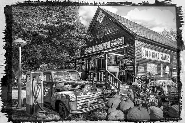 Photograph - The Crazy Mule Antiques Black And White Bordered by Debra and Dave Vanderlaan
