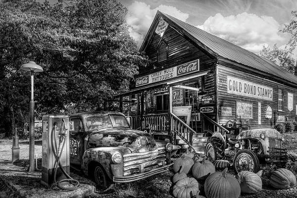 Photograph - The Crazy Mule Antiques In Black And White by Debra and Dave Vanderlaan