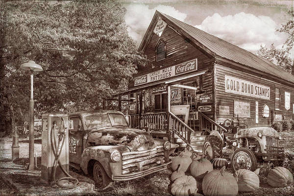Wall Art - Photograph - The Crazy Mule Antiques In Sepia by Debra and Dave Vanderlaan