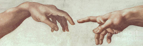 The Creation Of Adam Wall Art - Painting - The Creation Of Adam Detail Of The Hands Of God And Adam by Michelangelo