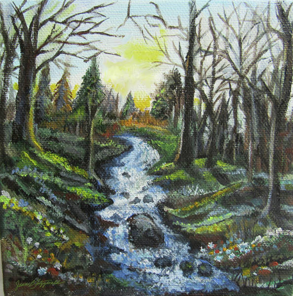 Painting - The Creek At Twilight by Jean Batzell Fitzgerald