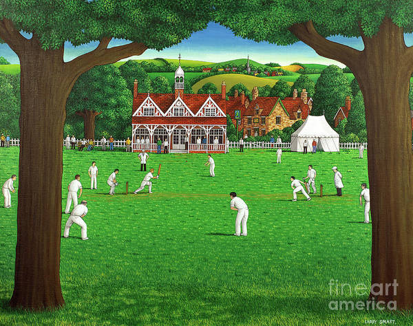 Wall Art - Painting - The Cricket Match by Larry Smart