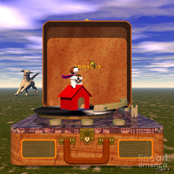 Digital Art - The Crosley Traveler, Featuring Snoopy And Schroeder by Walter Neal