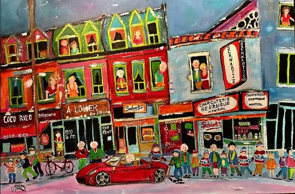 F430 Painting - The Crowd At Schwartz's On The Main by Michael Litvack