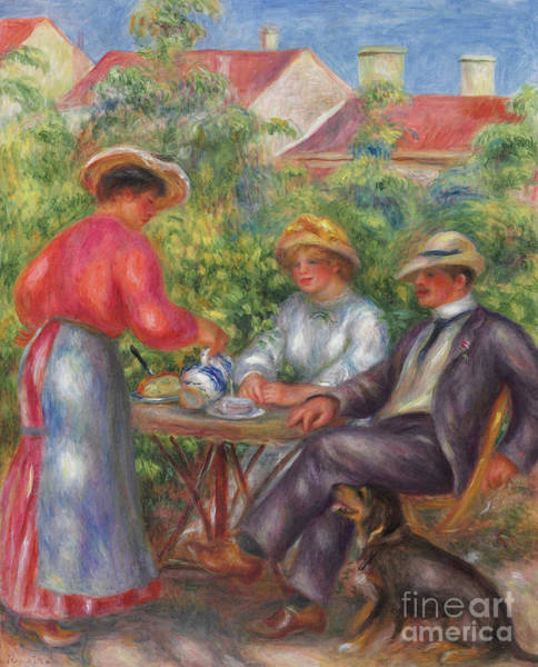 Wall Art - Painting - The Cup Of Tea, Or The Garden by Pierre Auguste Renoir