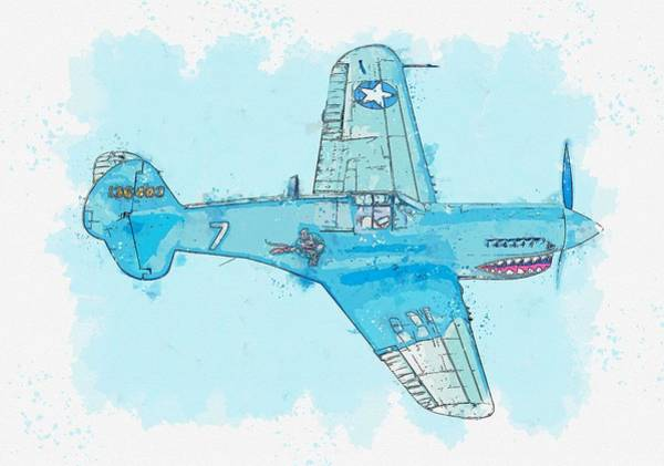 Wall Art - Painting - The Curtiss P-40 Cbi Warhawk Is An American Single-engined, Single-seat, All-metal Fighter Watercolo by Celestial Images