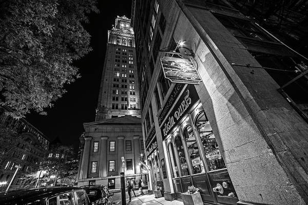 Photograph - The Custom House Overlooking The Black Rose Boston Ma Autumn Black And White by Toby McGuire