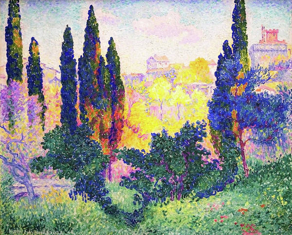 Wall Art - Painting - The Cypresses In Cagnes - Digital Remastered Edition by Henri Edmond Cross