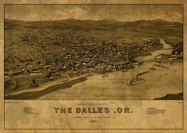 Wall Art - Mixed Media - The Dalles Oregon Vintage City Street Map 1884 by Design Turnpike