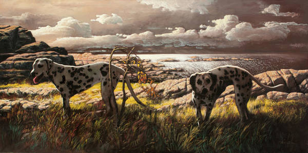 Archipelago Painting - The Dalmatians Fryda And Damina At The Coast by Hans Egil Saele