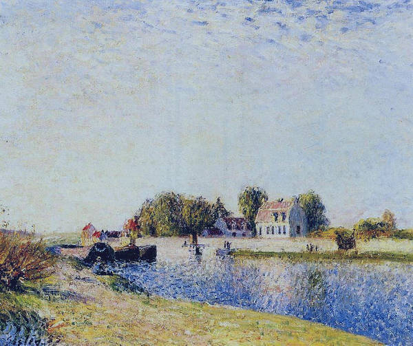 Wall Art - Painting - The Dam On The Loing - Barges, 1885 by Alfred Sisley