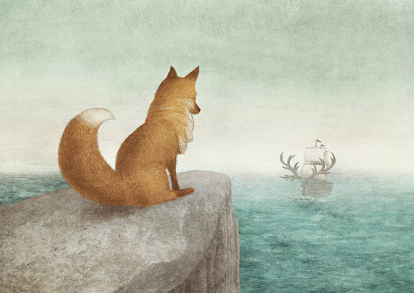 Ocean Drawing - The Day The Antlered Ship Arrived by Eric Fan