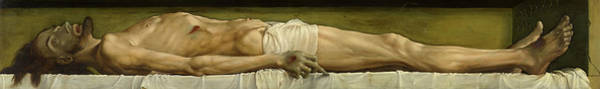 Wall Art - Painting - The Dead Christ In The Tomb by Hans Holbein