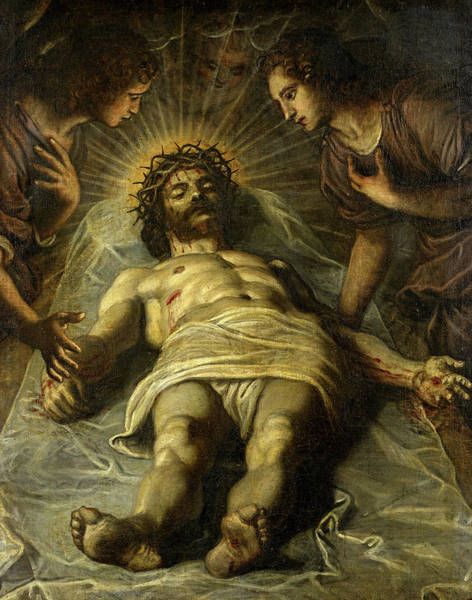 Wall Art - Painting - The Dead Christ With Two Angels by Jacopo Tintoretto