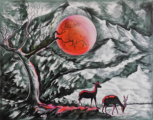 Wall Art - Drawing - The Deer In The Red Moonlight by Asp Arts