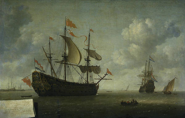 Wall Art - Painting - The Delivery Of The English Admiral Ship The Royal Charles by Jeronymus van Diest